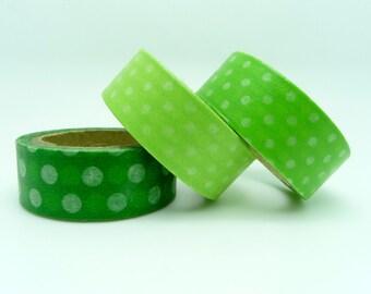 3 Rolls Green Dots Masking Tape - Japanese Washi Tape Set - DIY Deco Tape Scrapbook Embellishment Craft Tape