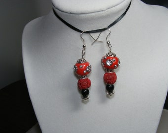 """Cute Red and Black color earrings with disco ball type theme  Approx 2 1/2"""" drop Free Shipping B32"""