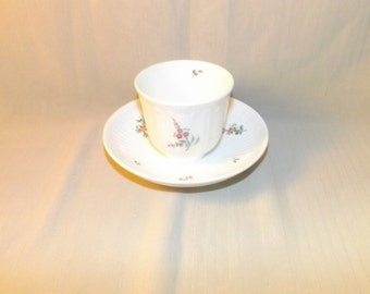 Early Antique Hand Painted Cup And Saucer Flowers