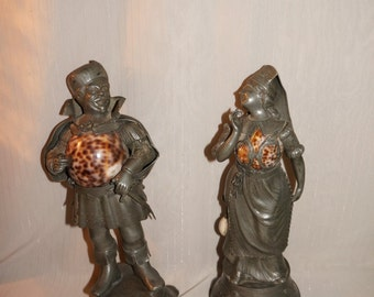 Superb Antique Pewter Shakespeare Figures Very Detailed And Old 17-18th c