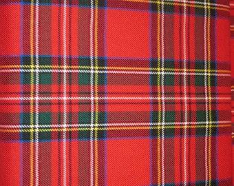 Sale by 5 Yards Red Royal Stewart Tartan Fabric Viscose poly ~Royal Stewart Tartan Red EHome Decorating Apparel Medium Weight@ sohoskirts
