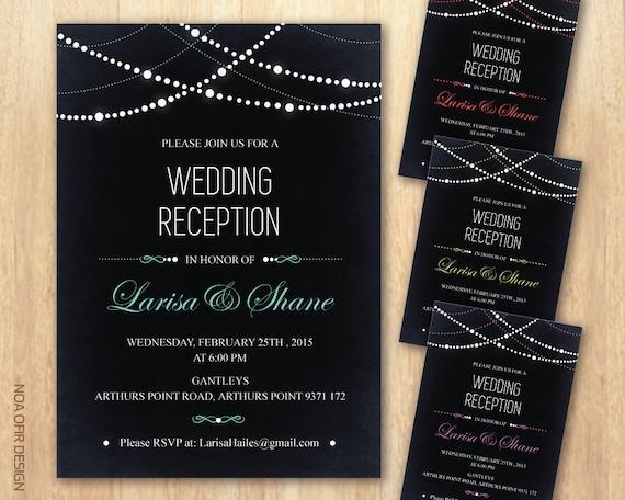 String Lights Wedding Invitation : Chalkboard Wedding Invitation String Lights by NoaOfirDesign