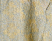 Softened 100% Linen Fabric. Bluish grey yellow jacquard flower pattern washed pure linen fabric by yard. Flax Linen Supplies. Discounts