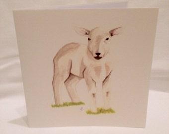 Hand Painted Lamb Greeting Card