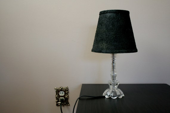 Vintage Small Clear Glass Bedroom Lamp With By Blackpansyshop