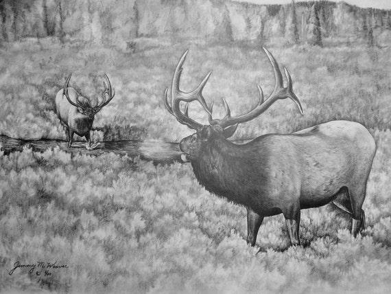Items similar to Rustic Print Rocky Mountain Elk Bulls ...