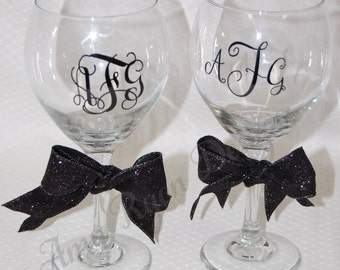 Two Monogrammed 20oz Red Wine Glasses with Vinyl Lettering