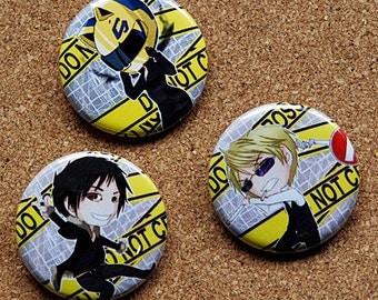 Durarara Button Set - Celty, Shizuo and Izaya