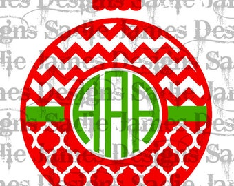 Christmas Monogram Frame Ornament with Chevron and Quatrefoil and Chevron SVG and Silhouette Studio cutting file, Instant Download