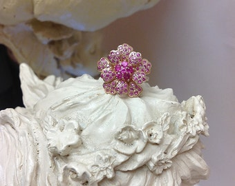 Genuine Pink Sapphire Blooming Flower Ring