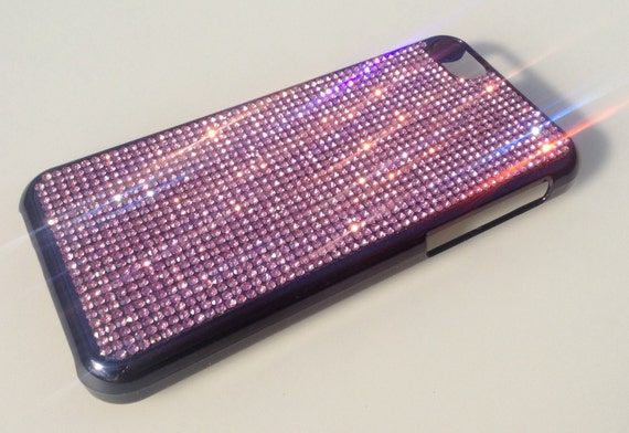 iPhone 5C Pink Diamond Rhinestone Crystals on Black Chrome Plastic case. Velvet/Silk Pouch Bag Included, Genuine Rangsee Crystal Cases.