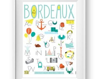 Alphabet poster Bordeaux A to Z, Wall Art Prints