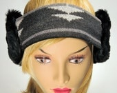Bandies. Faux Fur Ear Warmers Patterned Grey band with black Fur.