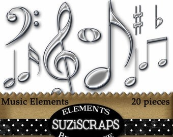 Digital Scrapbooking Music Elements, Metal Music Notes, Digital Elements, Digital Files, Instant Download