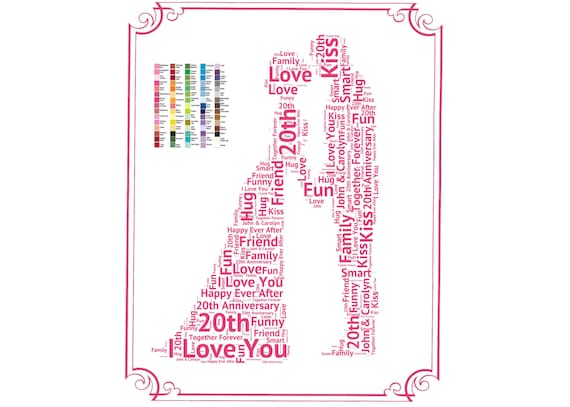 20th Wedding Anniversary Gift For Wife: Items Similar To Personalized 20th Anniversary Gift 20th