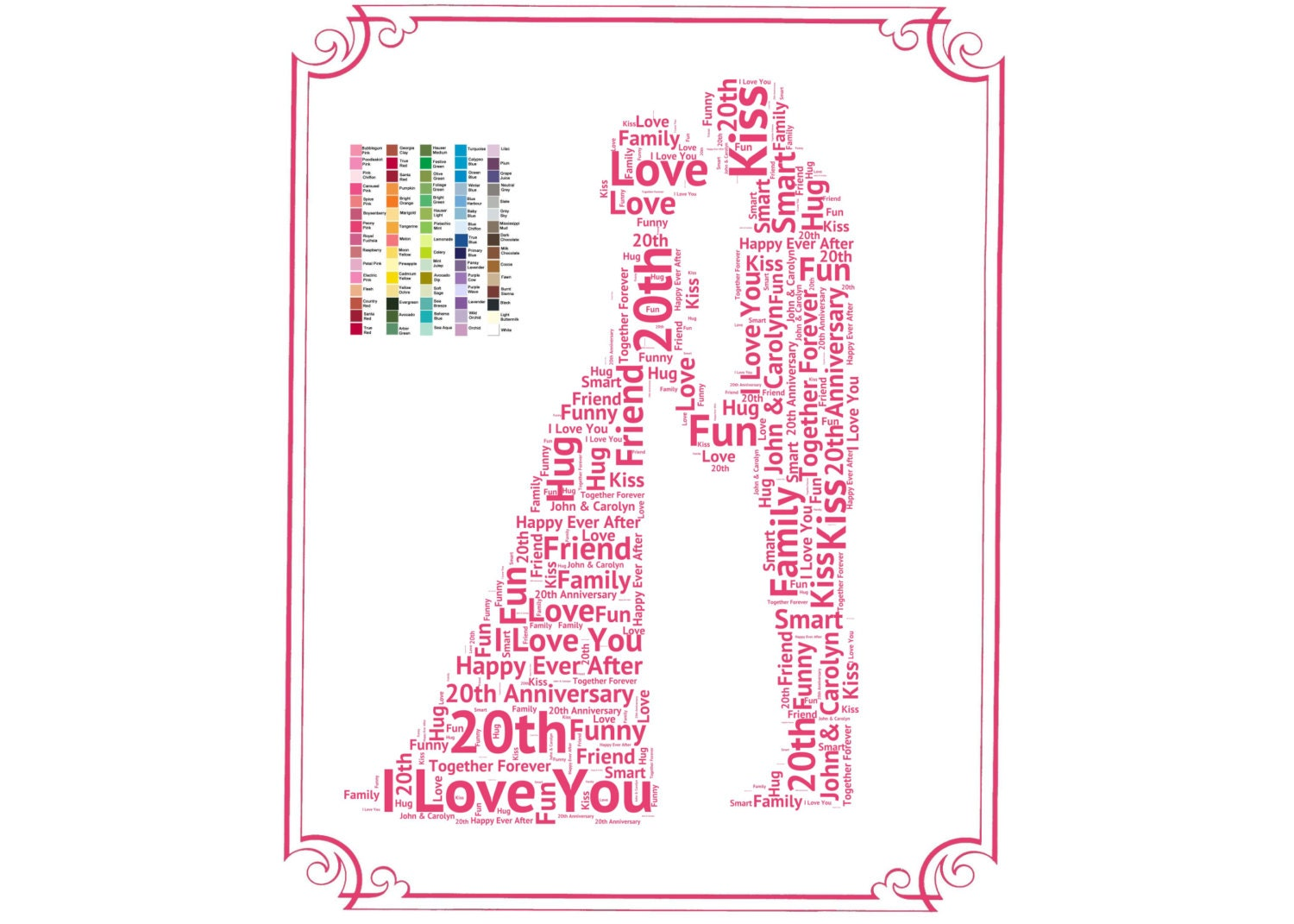 Traditional 20th Wedding Anniversary Gift: Personalized 20th Anniversary Gift 20th Anniversary Gift