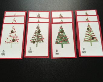 Self-Adhesive Christmas Gift Tags - Set of 12 Holiday Christmas Tree Gift Tags