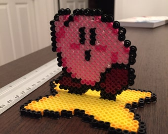 Kirby Stand-Up Sprite with Star (perler)