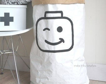 Lego// paper bag hand painted, storage of toys, books, teddybears...