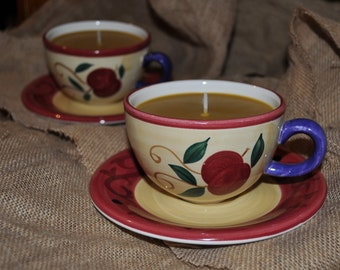 CARAMEL Large Tea Cup candle, with strong rich creamy scent