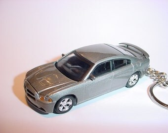 3D 2011 Dodge Charger R/T custom keychain by Brian Thornton keyring key chain finished in silver color hood opens diecast metal body