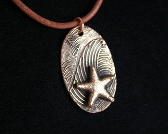 Bronze Wave Pendant with Starfish