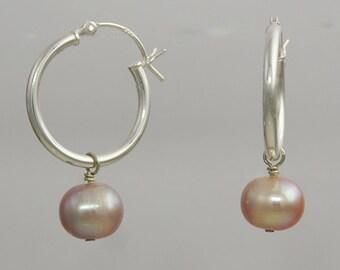 Round Pearl Hoop Dangles