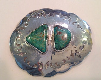 A Sterling Silver Turquoise Belt Buckle