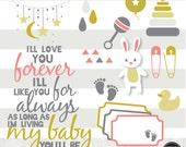 My Baby Girl Digital Clipart, Digital Scrapbook Supplies, Digital Embellishments