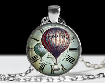 Steampunk Hot Air Balloon Wearable Art  Balloon Pendant Charm Purple Hot Air Balloon