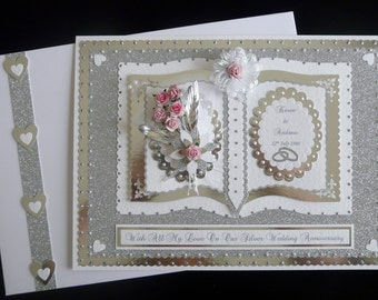 Large Handmade Boxed Personalised 25th/60th/70th Silver/Diamond/Platinum Wedding Anniversary Card for Wife/Husband/Friends etc