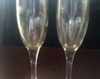 Vintage Champagne Flutes White Wine Glasses 2 of