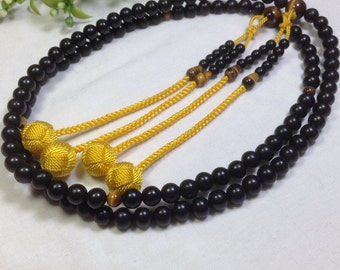 "Juzu buddhist beads,African ebony ""Kokutan"" black sandalwood,with Tiger Eye stone&gold woven balls"