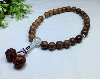 Wrist juzu prayer beads w/ tagayasan natural wood carved,japanese nenju having brown woven balls