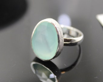 Chalcedony Ring, Sterling Silver Ring , Gemstone Ring