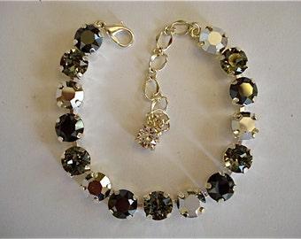 Swarovski Crystal Sparkling Silver Tennis Bracelet, 8mm tennis bracelet, crystal bracelet, bridesmaid bracelet, tennis bracelet, black