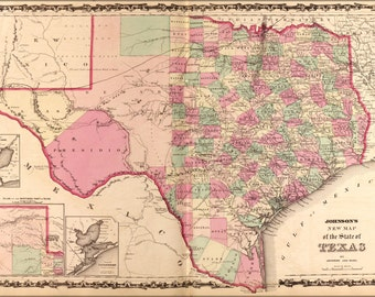 24x36 Poster; Map Of Texas 1862