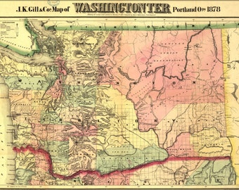 24x36 Poster; Map Of Washingtonter Washington State 1878