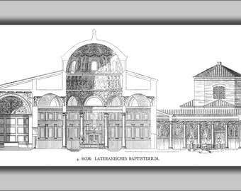 24x36 Poster; Rome, Lateran, Battisterio. Cross Section