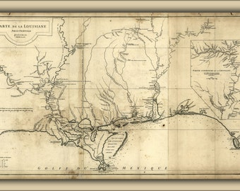 24x36 Poster; 1752 Map Of New Orleans And Louisiana