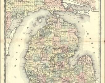 24x36 Poster; Map Of Michigan 1889