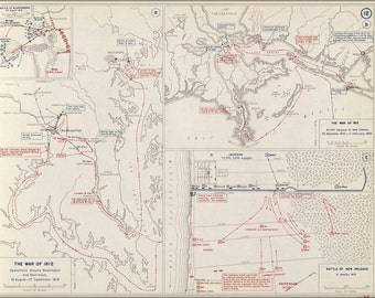 24x36 Poster; Map Of War Of 1812 Washington D.C. Baltimore & New Orleans, 1814