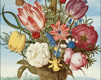 24x36 Poster; Ambrosius Bosschaert - Bouquet Of Flowers On A Ledge -