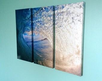 Hawaiian Surf Canvas Print,Triptych Surf Photography Art,Off The Wall,Original Hawaii Artwork,Empty Barrel Photography,Beach Lifestyle Photo