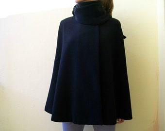PURE WOOL Cape / Black Wool Cape / Women Cape/ Warm Cape/ Wool Cape/ Winter Cape/ Winter Coat/ Black WOOL Coat/ Women Coat/ Cape Coat / Cape