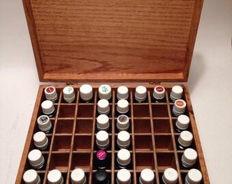 Solid Oak Custom Essential Oil Box holds 48 (15ml) bottles. Case/Storage/Rack/Trunk/rustic/handmade