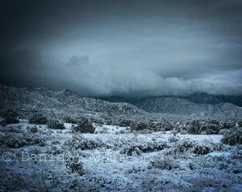 Sandia mountains, Landscape photography, Fine art print, 8 x 10, snowy mountains, snowy desert, snow photography, mountain photography
