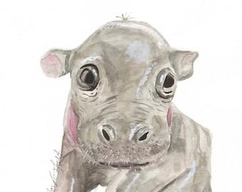 Baby Safari Hippo -- Digital Print File