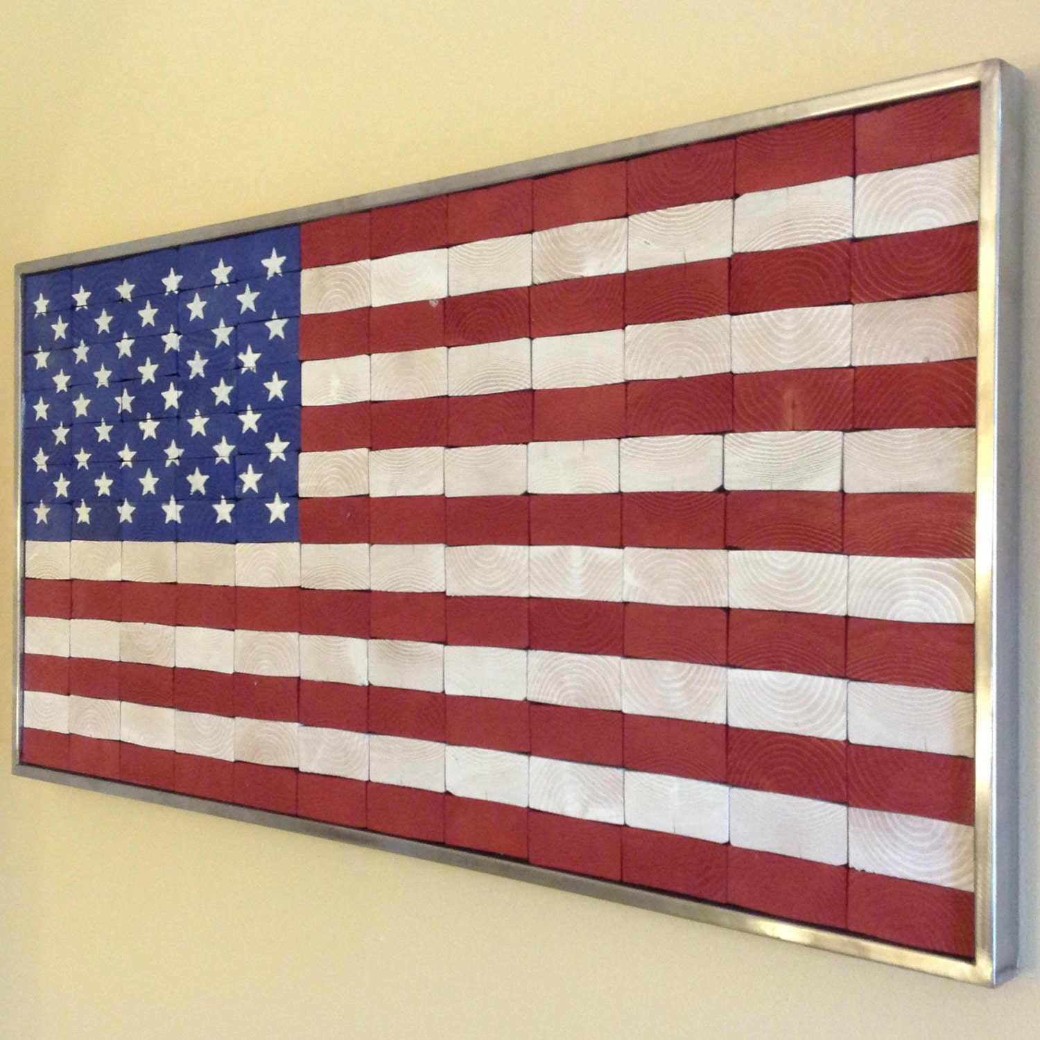 industrial rustic end grain american flag wall hanging. Black Bedroom Furniture Sets. Home Design Ideas