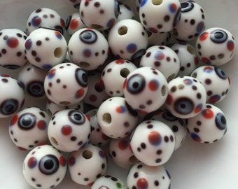20 Glass Evil Eye Bead in White 10mm package of 20